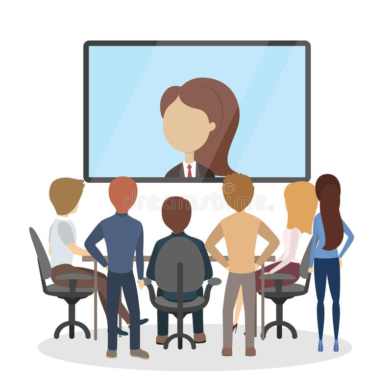 Conférence en ligne au bureau illustration de vecteur
