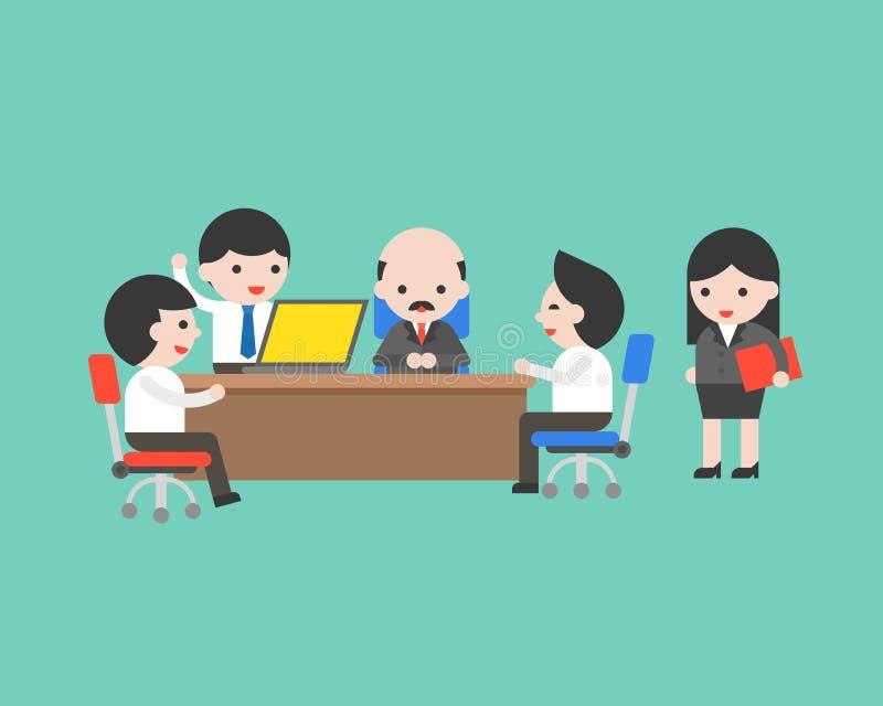 Conférence mignonne de réunion d'équipe d'homme d'affaires avec le Président dans le bureau, vec illustration de vecteur