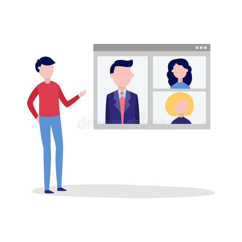 Conférence visuelle en ligne de causerie d'appel avec l'homme à l'aide de l'écran de dispositif pour converser avec le groupe de  illustration stock