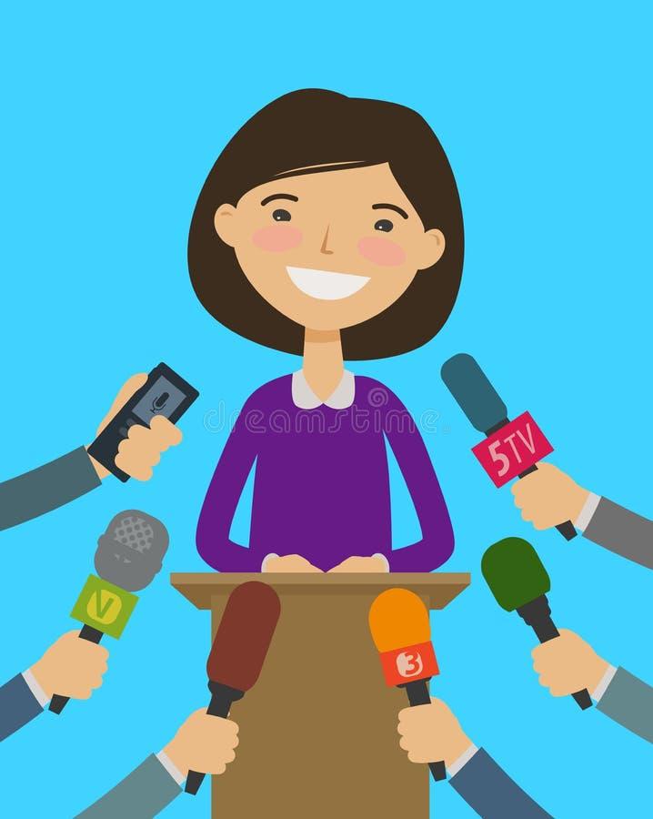 Conférencier, entrevue avec des journalistes Concept de conférence de presse Illustration de vecteur de dessin animé illustration de vecteur
