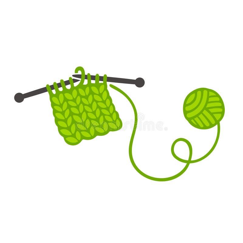Confecção de malhas com agulhas e bola do fio ilustração stock