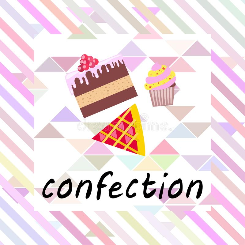 Confection vector set. Cakes and cookies illustration stock photos