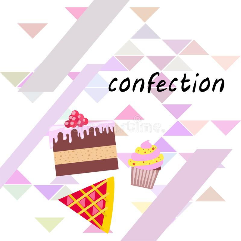 Confection vector set. Cakes and cookies illustration stock photo