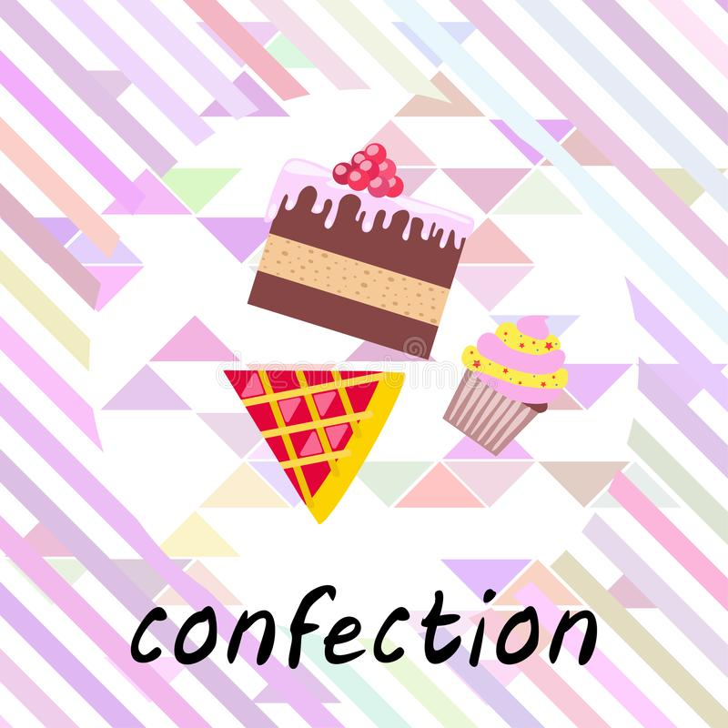 Confection vector set. Cakes and cookies illustration royalty free stock photo