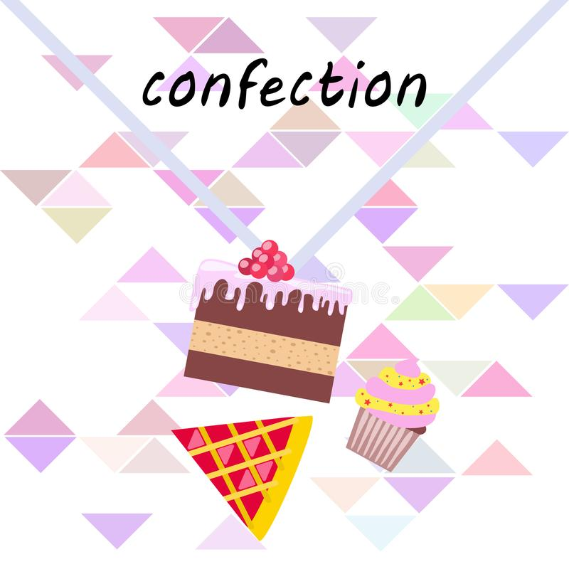 Confection vector set. Cakes and cookies illustration stock image