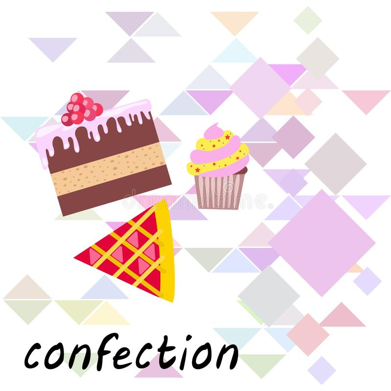Confection vector set. Cakes and cookies illustration royalty free stock images
