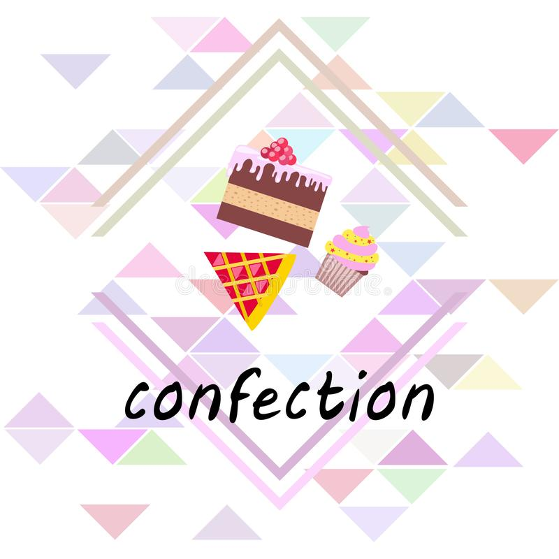 Confection vector set. Cakes and cookies illustration royalty free stock image