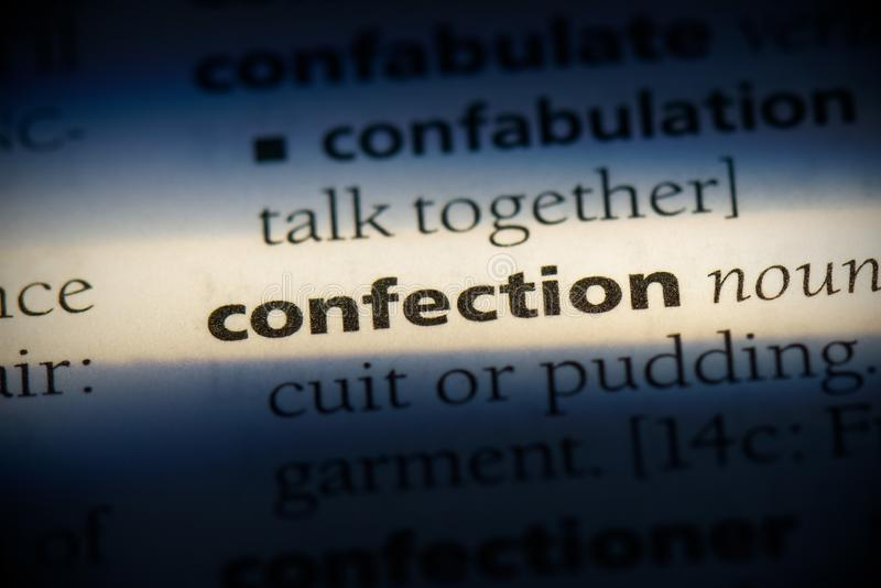Confection. Word in a dictionary.  concept stock images