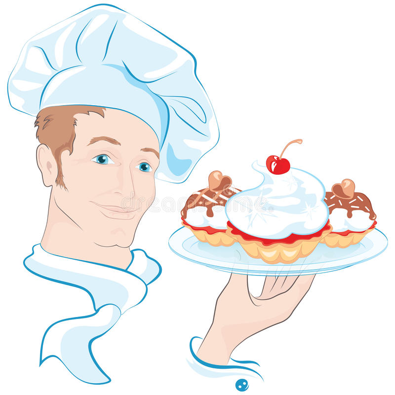 The confectioner. Vector pastry chef holds in his hand dish with with sweet pastries vector illustration