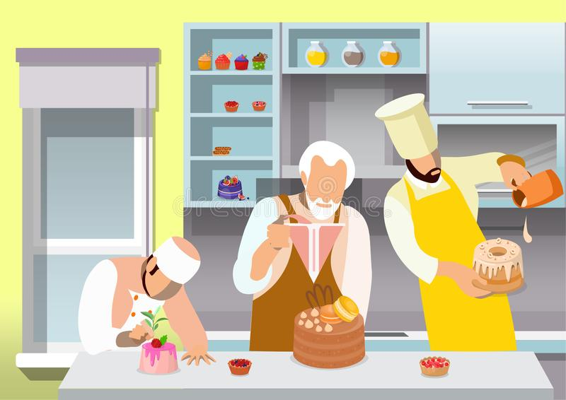 Confectioners Preparing Desserts Flat Illustration stock illustration