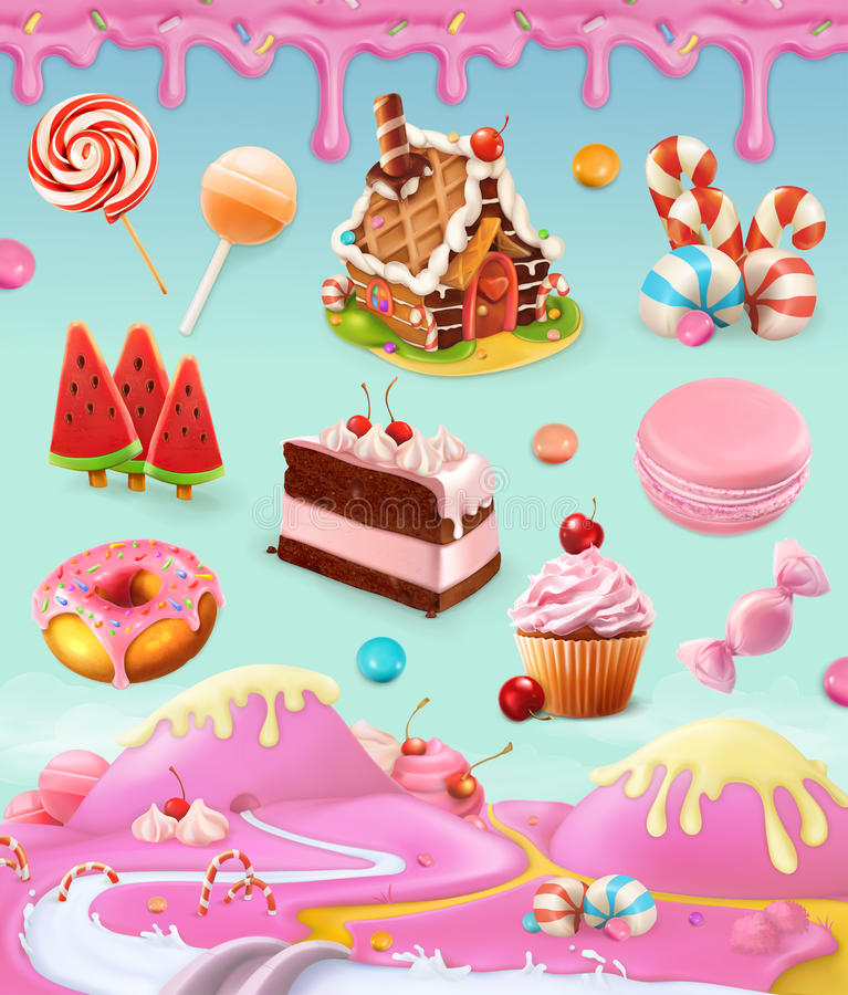 Confectionery and desserts. Cake, cupcake, candy, lollipop, whipped cream, icing, set of vector graphics objects with sweet pink background, mesh illustration royalty free illustration