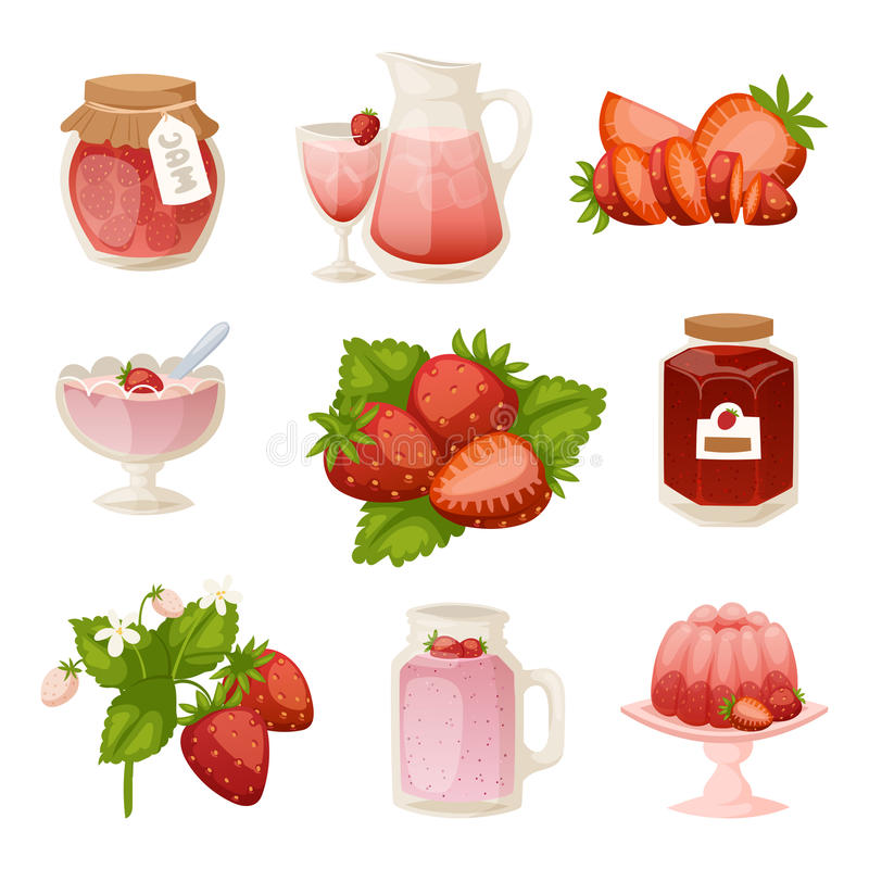 Confectionery desserts strawberry milk cake cupcake pink icon set delicious raw ripe jam and fresh product fruit healthy stock illustration