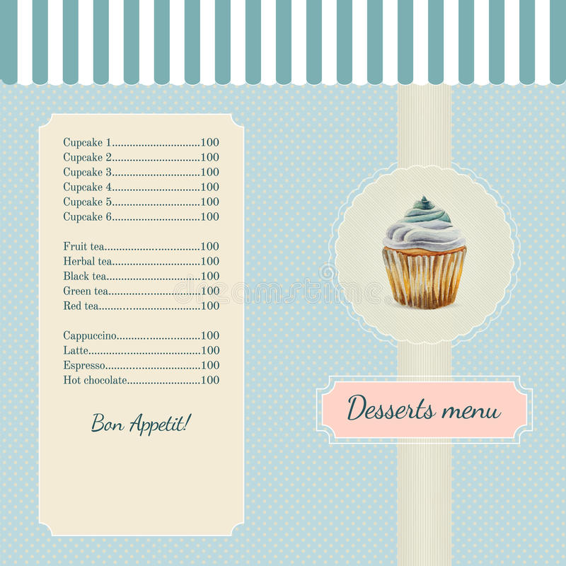 Confectionery menu template with watercolor. Cupcake illustration in retro style vector illustration