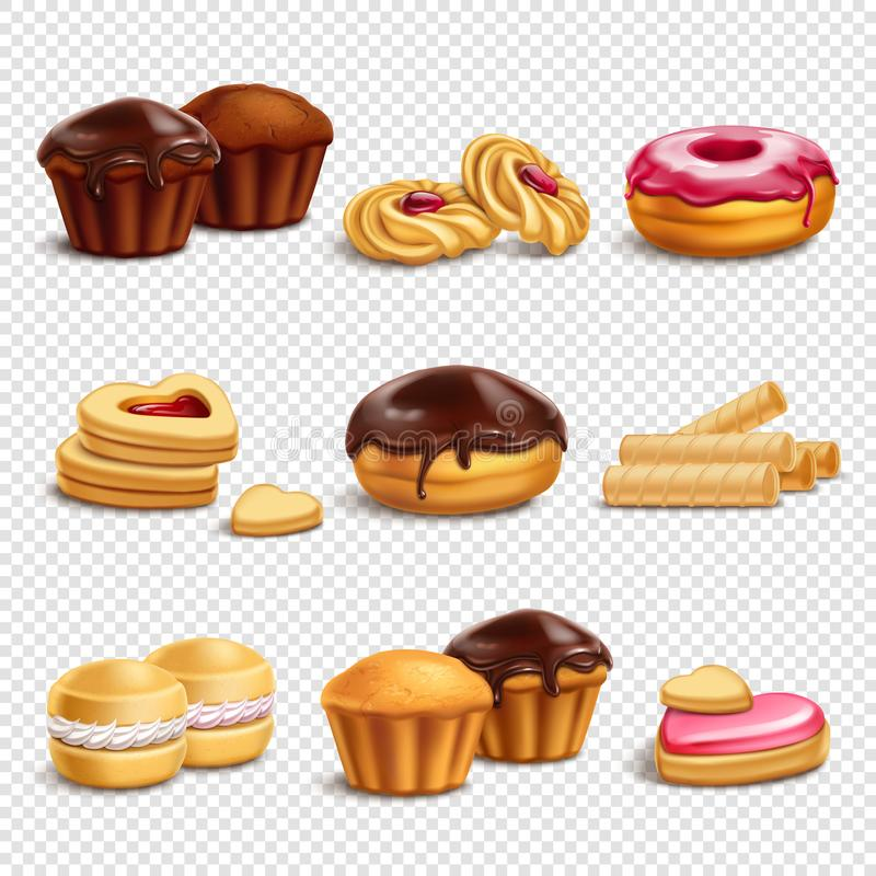 Confectionery Products Icons Collection stock illustration