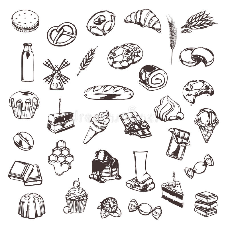 Confectionery sketches of icons. Confectionery, sketches of icons vector set vector illustration