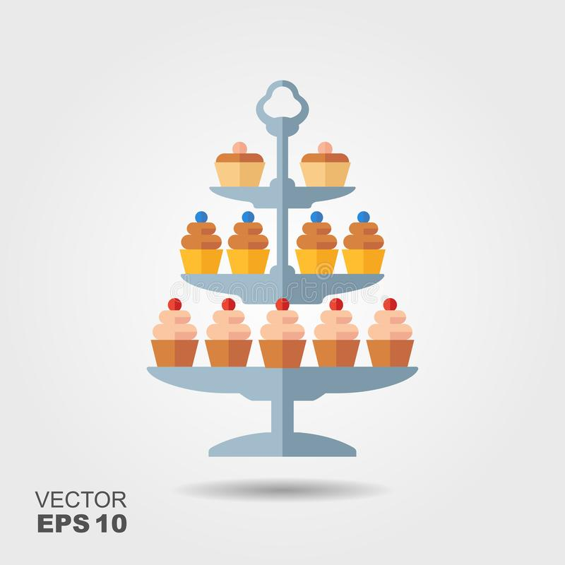 Confectionery vector icon. Cupcakes with berries on the stand vector illustration
