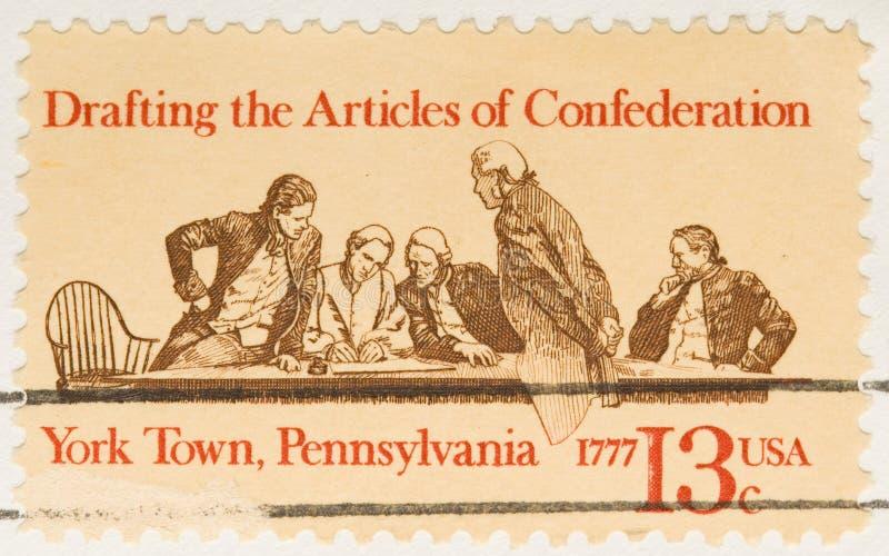 Confederação de esboço do selo do vintage 1977 fotografia de stock