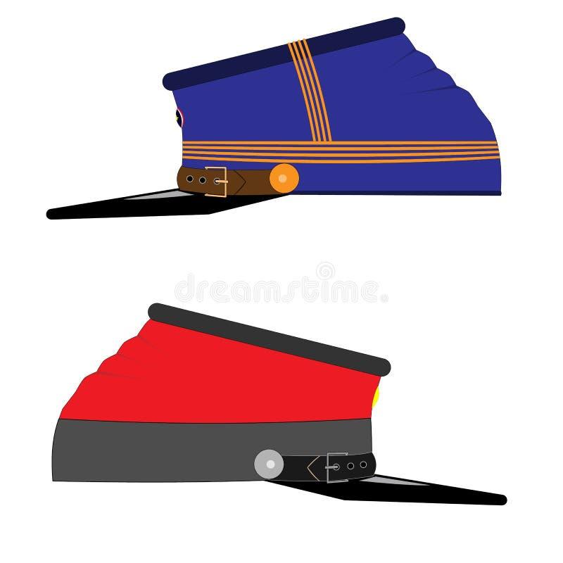 Confederado e tampões ou chapéus da união Elemento uniforme da munição da guerra civil Para projetar bandeiras por feriados nacio ilustração royalty free