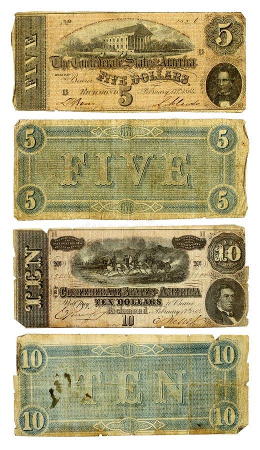 Confederado idoso cinco e dez contas de dólar imagens de stock royalty free