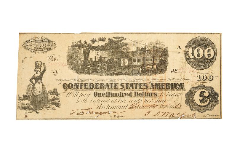 A $100 Confederate banknote from 1862 royalty free stock photo