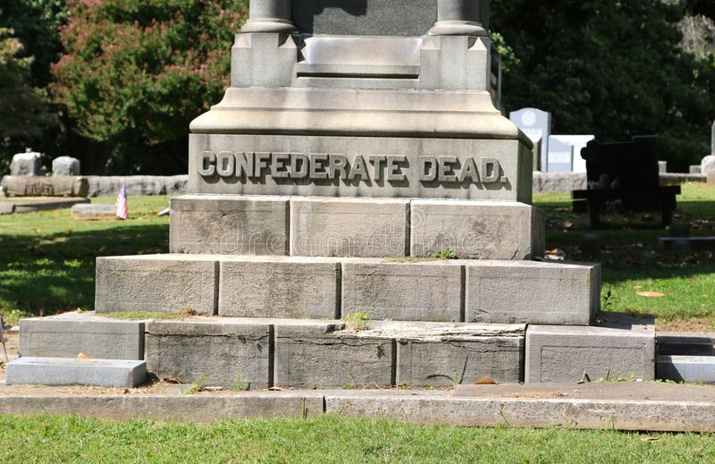 Confederate Dead Tombstone. A tombstone at the historic Elmwood cemetery marks the final resting place of solders who fought for the confederacy in the United royalty free stock photo