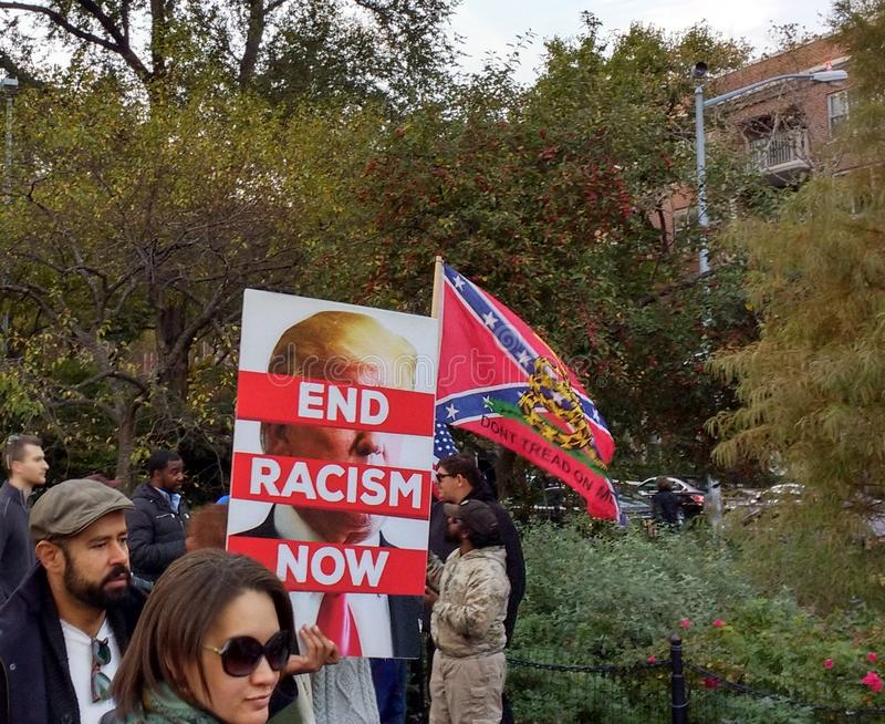 Confederate Flag, Don`t Tread On Me, Washington Square Park, NYC, NY, USA. It`s almost one year after the historic election of Donald Trump as the 45th President stock photos