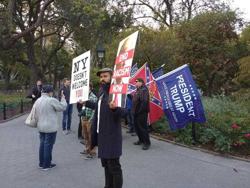 Confederate Flag in Washington Square Park, NYC, NY, USA. It`s almost one year after the historic election of Donald Trump as the 45th President of the United stock image