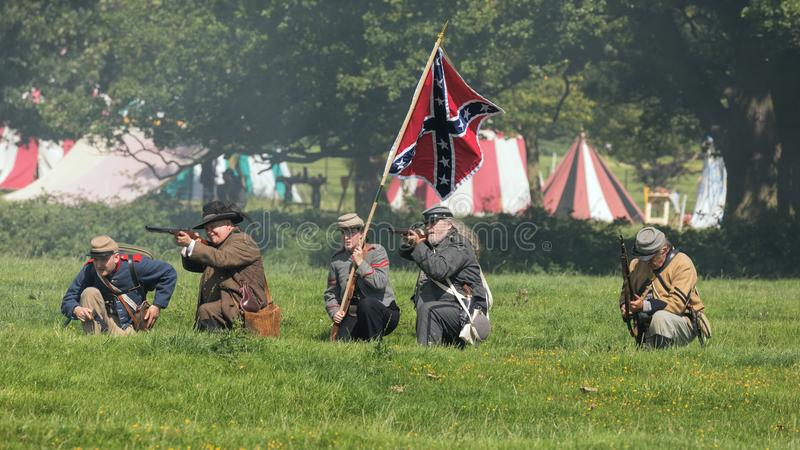 Confederate Infantry on the battlefield, Worcestershire, England. stock photo