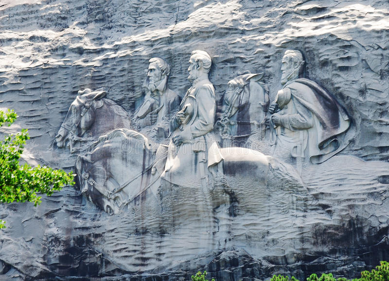 Confederate Memorial Carving at Stone Mountain, Georgia. stock image