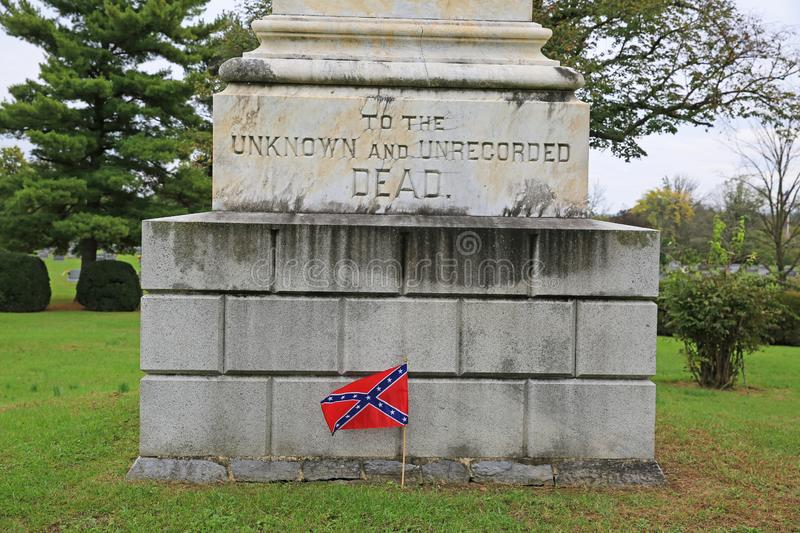 Confederate Monument to Unknown Soldiers, Stonewall Cemetery royalty free stock image