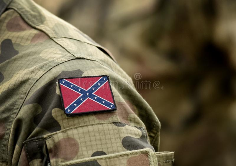 The Confederate Rebel Flag on military uniform. American Civil War. Collage.  royalty free stock photo