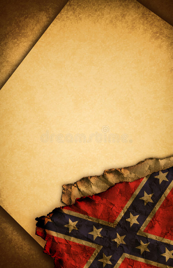 Confederate Rebel Flag And Old Paper Stock Photo