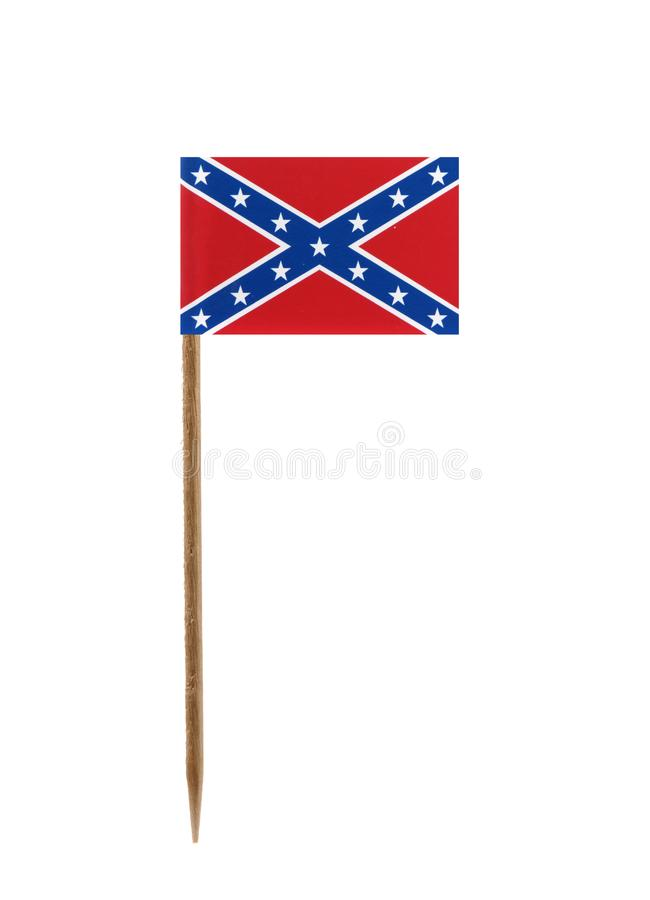 Confederate rebel flag. Tooth pick wit a small paper Confederate rebel flag royalty free stock photography