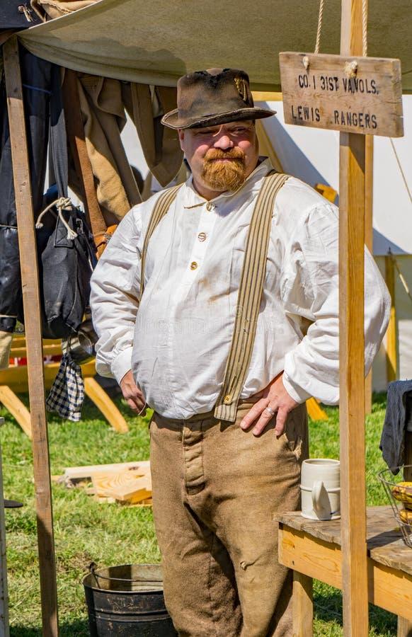 Confederate Reenactor портрета мужской на сражении Buchanan стоковое изображение rf