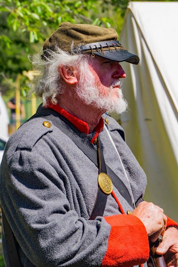 Confederate Reenactor портрета на сражении Buchanan стоковая фотография