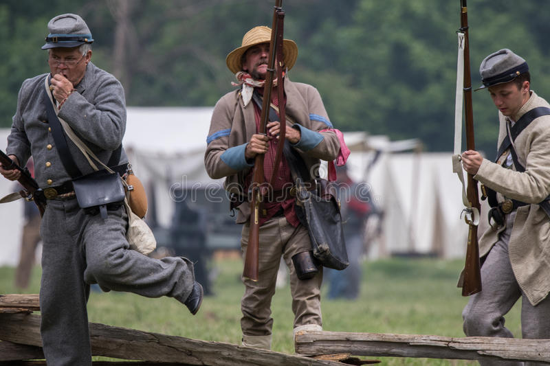 Confederate Soldiers. Civil War era soldiers in battle at the Dog Island reenactment in Red Bluff, California stock images