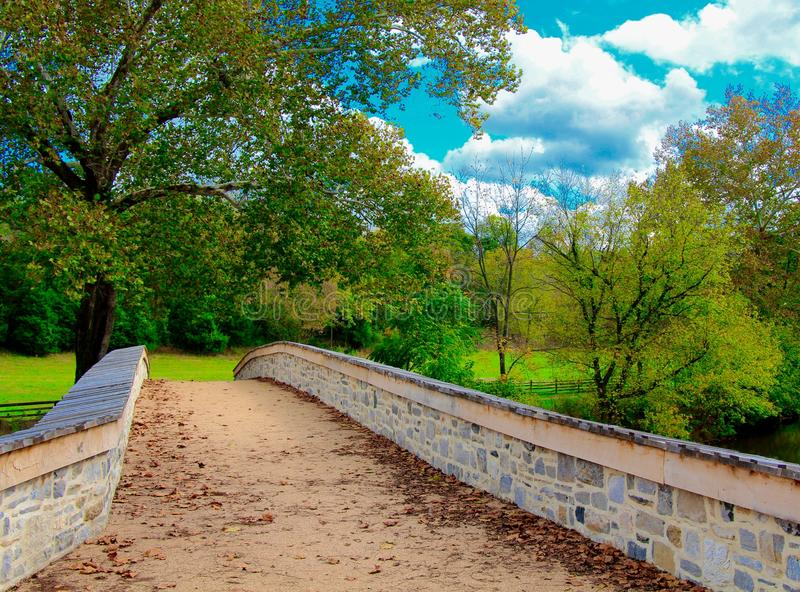 Confederates Defend Burnside Bridge. The Confederate side of Burnside Bridge at Antietam, in Sharpsburg, Maryland. This is a famous bridge from the battle of royalty free stock photo