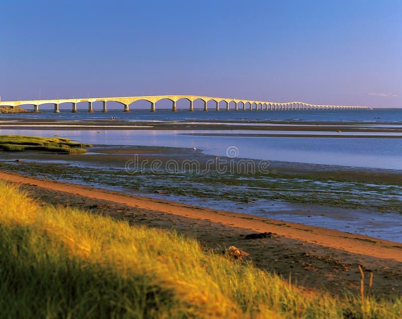 Confederation Bridge across the sea royalty free stock photos