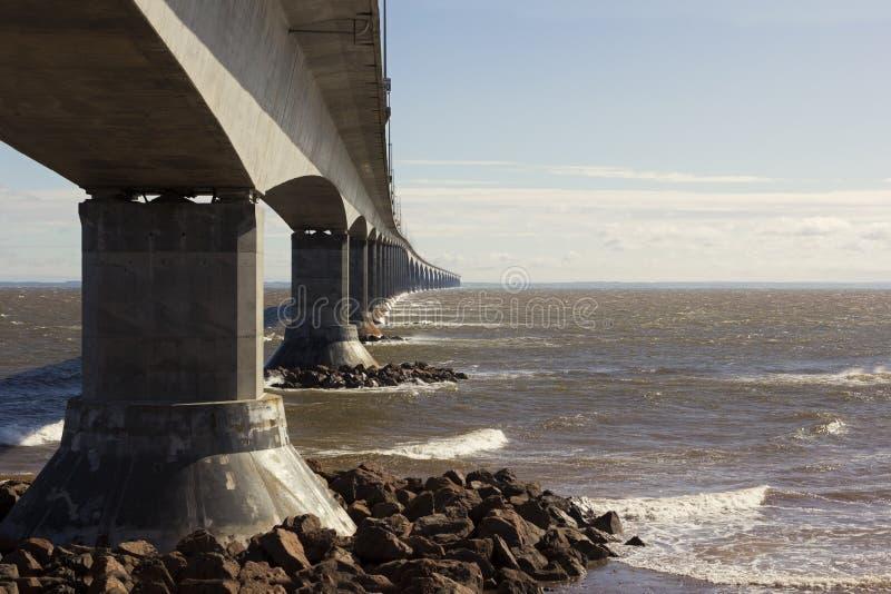 The Confederation Bridge in Canada. The Confederation Bridge between Borden-Carleton in royalty free stock image