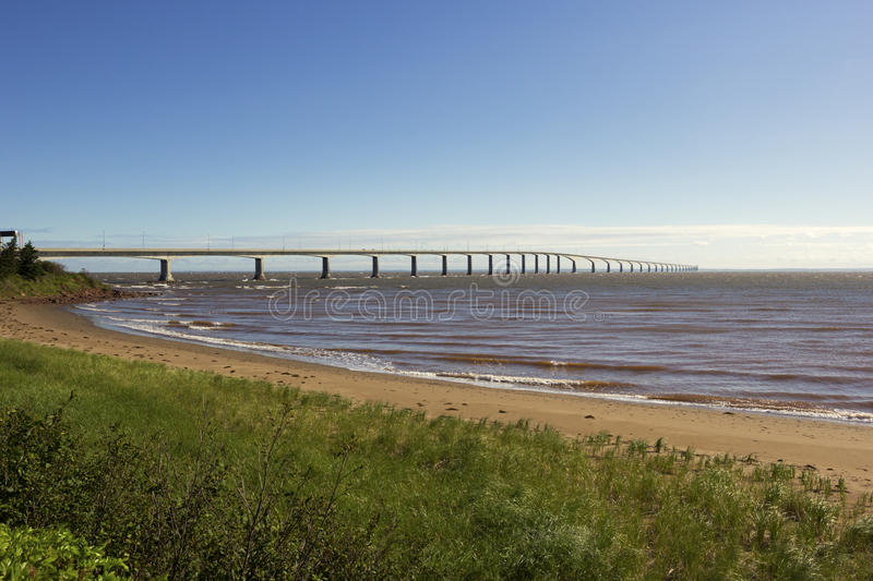 The Confederation Bridge in Canada. The Confederation Bridge between Borden-Carleton in Prince Edward Island and Cape Jourimain in Brunswick, Canada royalty free stock images