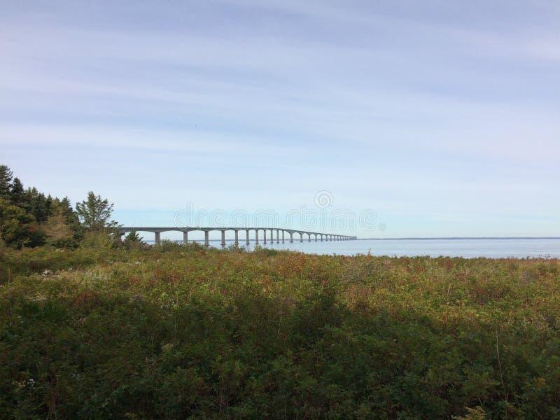 Confederation Bridge, PEI. The eight-mile Confederation Bridge spans  Northumberland Strait, linking Prince Edward Island and New Brunswick Canada stock images