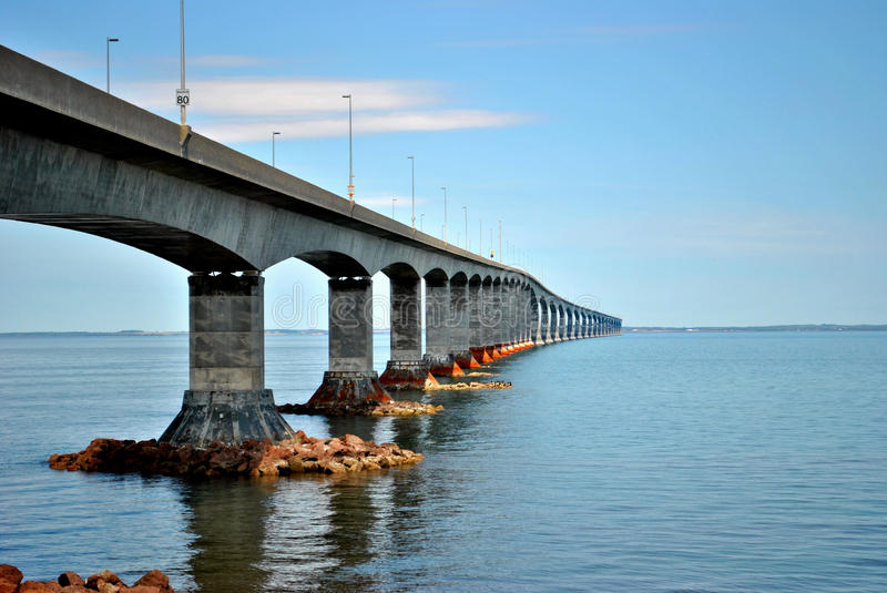 Confederation Bridge, Prince Edward Island. Confederation Bridge leading to Prince Edward Island as seen from New Brunswick, Canada stock images