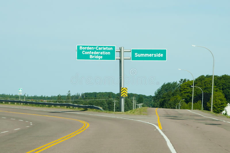 Confederation Bridge Road Sign - PEI - Canada stock images
