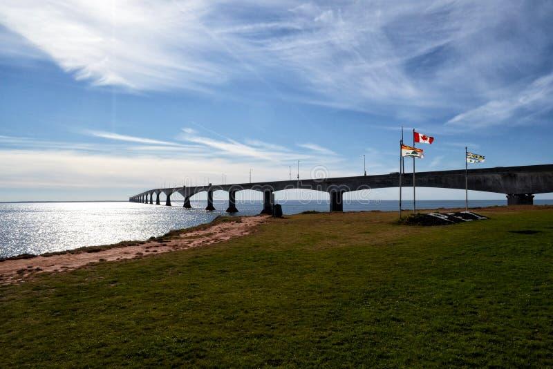The Confederation Bridge spans the Abegweit Passage of Northumberland Strait. It links Prince Edward Island with mainland New Brunswick, Canada stock images