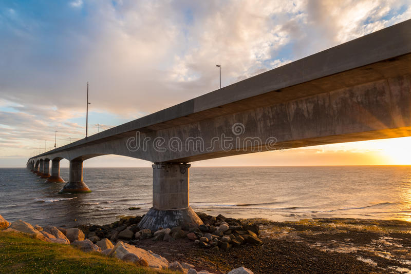 Confederation Bridge at sunset. Confederation Bridge linking Prince Edward Island with mainland New Brunswick. As viewed from the Prince Edward Island side stock photography