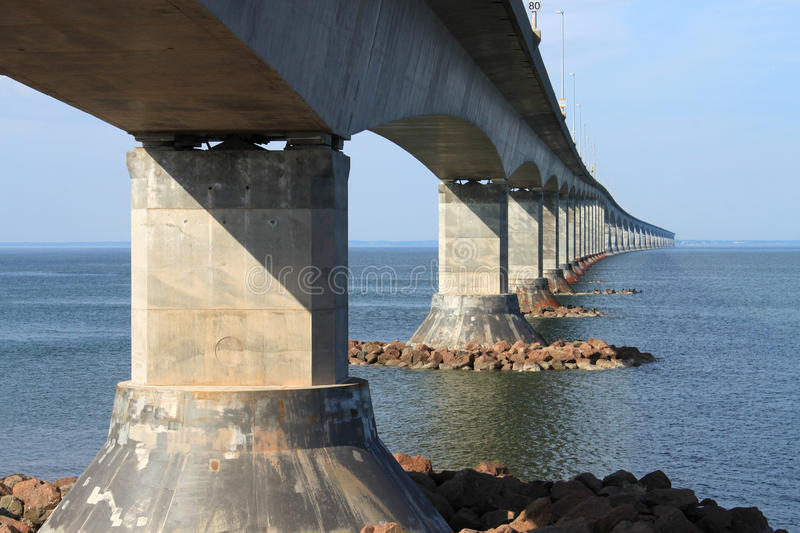 Confederation Bridge to Prince Edward Island. Confederation bridge connecting New Brunswick to Prince Edward Island stock images