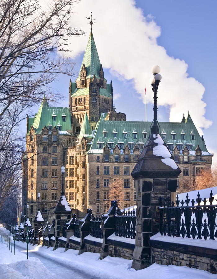 Confederation Canada. The Canadian parliament Confederation building in Ottawa during winter royalty free stock photos