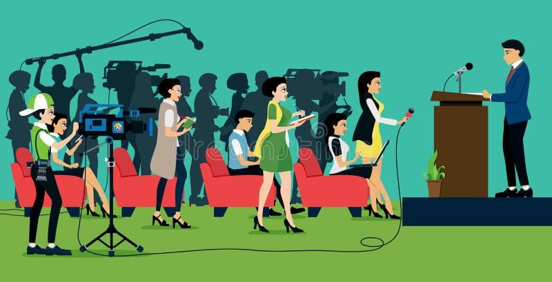 Conferência de imprensa ilustração do vetor