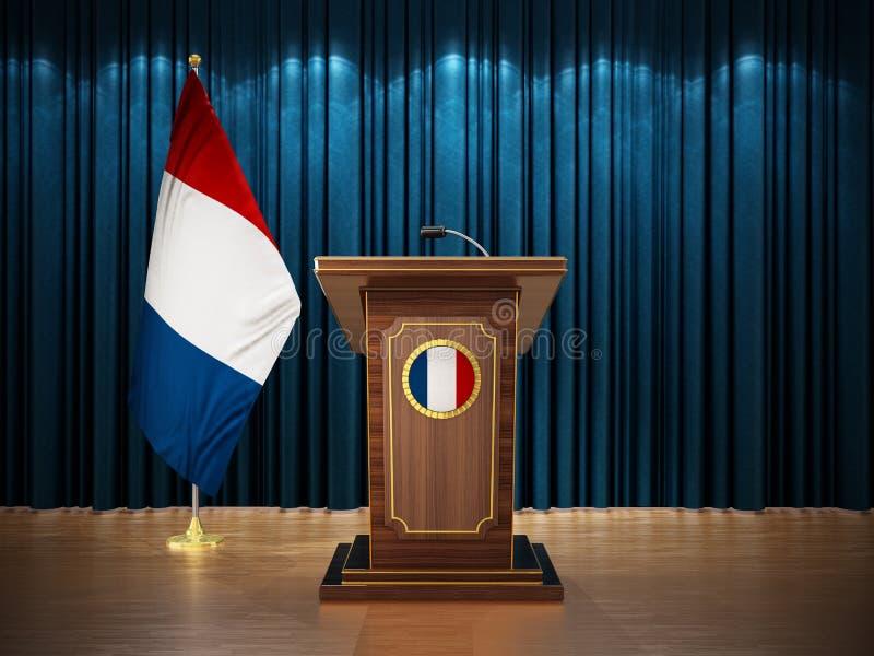 Conferência de imprensa com as bandeiras de França e do atril contra a cortina azul ilustração 3D ilustração stock