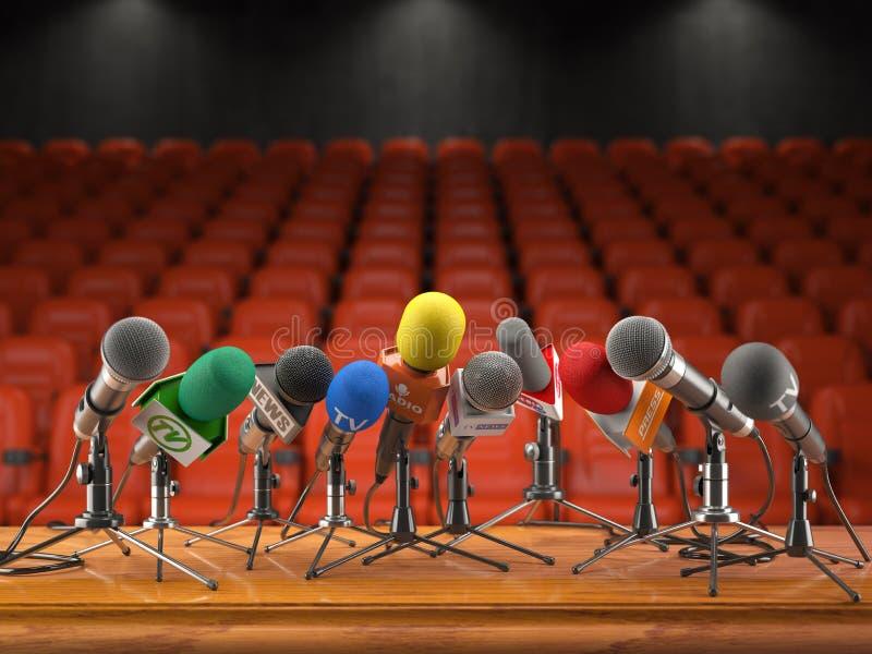 Conferência de imprensa ou conceito do evento da entrevista Microfones do dif ilustração stock